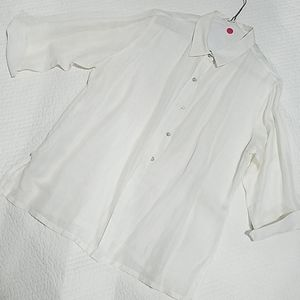 Chicos silk and linen white blouse size 2